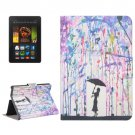 For Kindle Fire HDX 7 Rain Pattern Leather Case with Holder & Card Slots