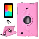 For LG G Pad 7.0 Pink Litchi Flip Leather Case with 2 Gears Rotating Holder