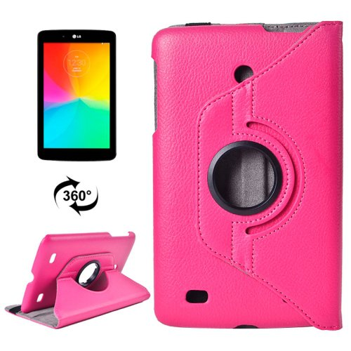 For LG G Pad 7.0 Magenta Litchi Flip Leather Case with 2 Gears Rotating Holder