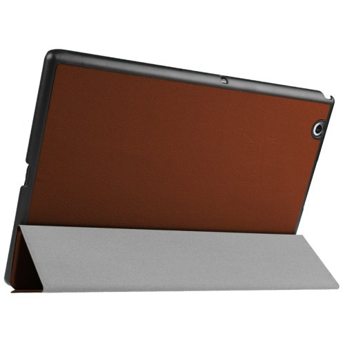 For Sony Xperia Z4 Brown Karst Flip Leather Case with Three-folding Holder