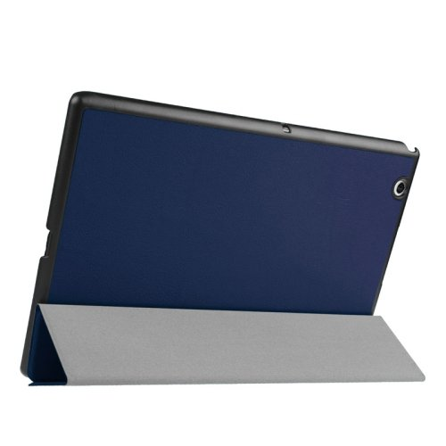 For Sony Xperia Z4 Dark Blue Cross Flip Leather Case with Three-folding Holder