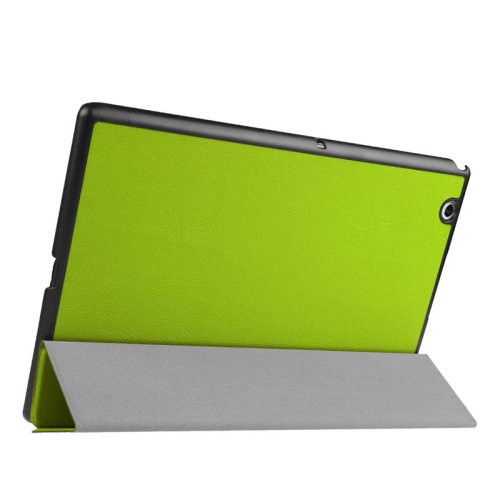 For Sony Xperia Z4 Green Cross Flip Leather Case with Three-folding Holder