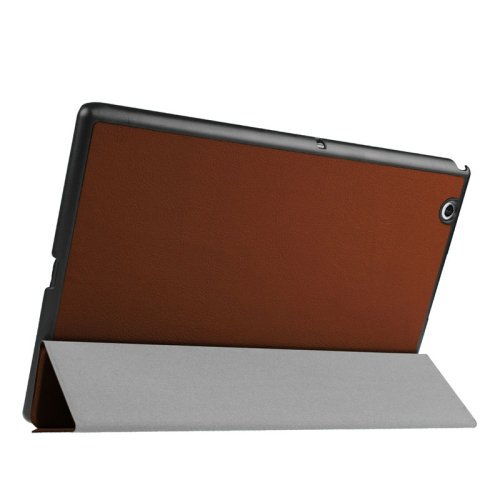 For Sony Xperia Z4 Brown Cross Flip Leather Case with Three-folding Holder
