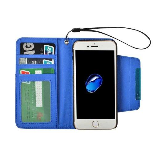 For iPhone 7 Blue Detachable Plain Weave Texture Flip PU Leather Case