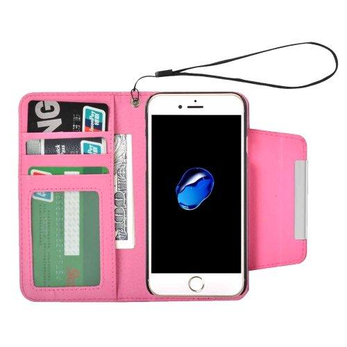 For iPhone 7 Magenta Detachable Plain Weave Texture Flip PU Leather Case