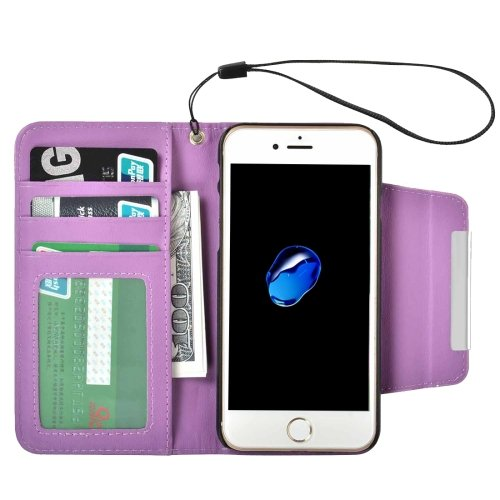 For iPhone 7 Purple Detachable Plain Weave Texture Flip PU Leather Case