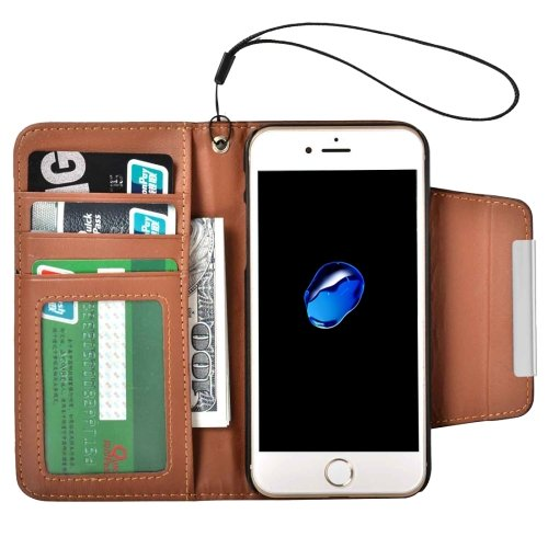For iPhone 7 Brown Detachable Plain Weave Texture Flip PU Leather Case