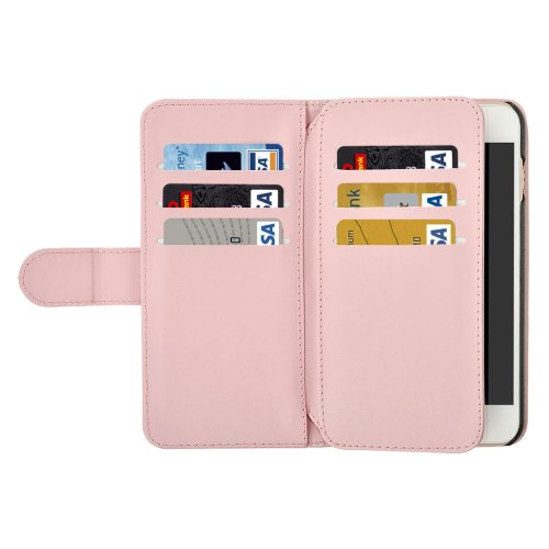 For iPhone 7 Plus Pink Flip Leather Case with Card Slots, Wallet & Lanyard