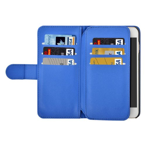 For iPhone 7 Plus Blue Flip Leather Case with Card Slots, Wallet & Lanyard