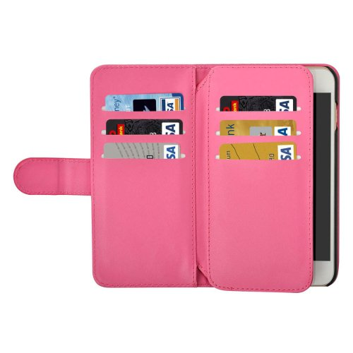 For iPhone 7 Plus Magenta Flip Leather Case with Card Slots, Wallet & Lanyard