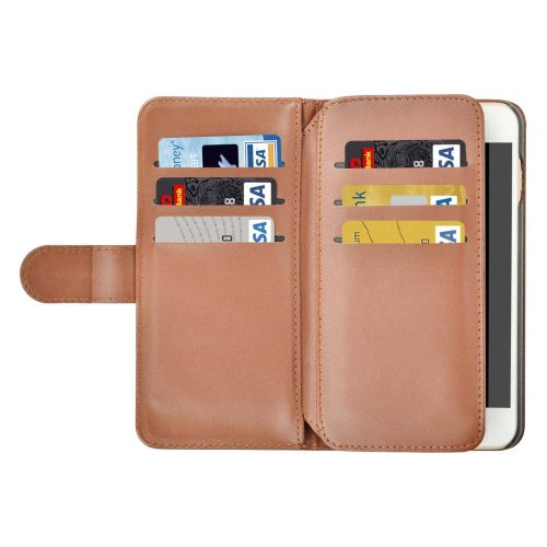 For iPhone 7 Plus Brown Flip Leather Case with Card Slots, Wallet & Lanyard