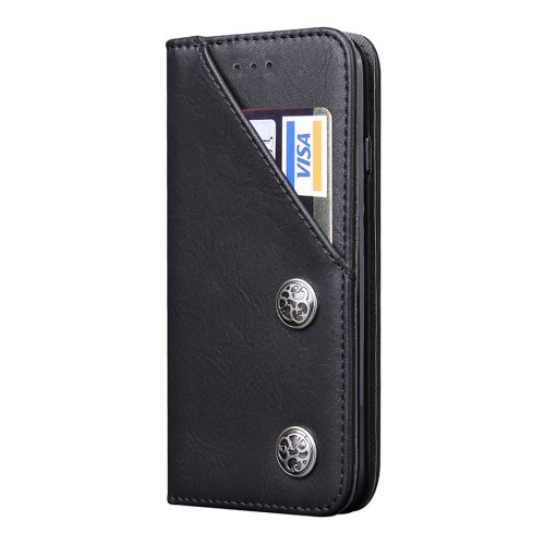 For iPhone 7 Plus Bronze Texture Black Leather Case with Holder & Card Slots