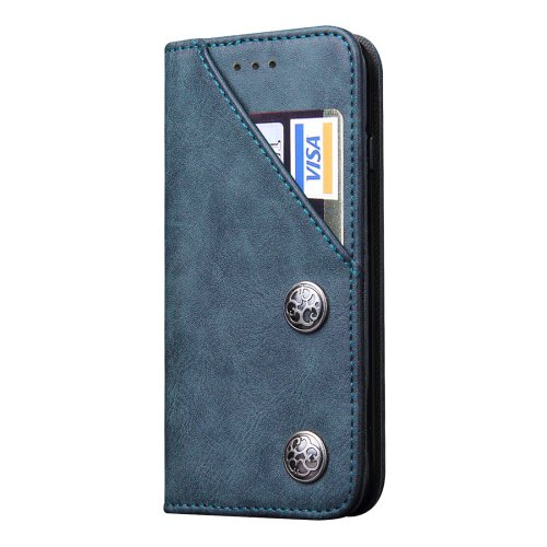 For iPhone 7 Plus Bronze Texture Dark Blue Leather Case with Holder & Card Slots