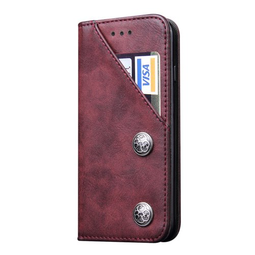 For iPhone 7 Plus Bronze Texture Wine red Leather Case with Holder & Card Slots