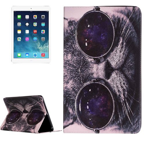 For iPad Air 2/iPad 6 Cat Pattern Horizontal Flip Leather Case with Holder