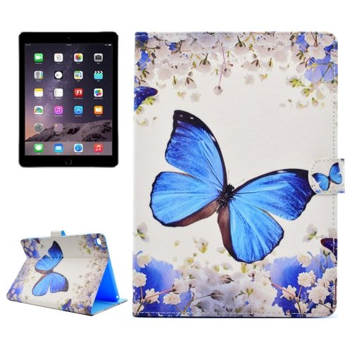 For iPad Air 2/iPad 6 Butterfly Pattern Flip Leather Case with Holder, Card Slots & Wallet