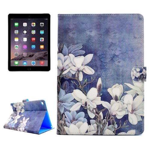 For iPad Air 2/iPad 6 Flowers Pattern Flip Leather Case with Holder, Card Slots & Wallet
