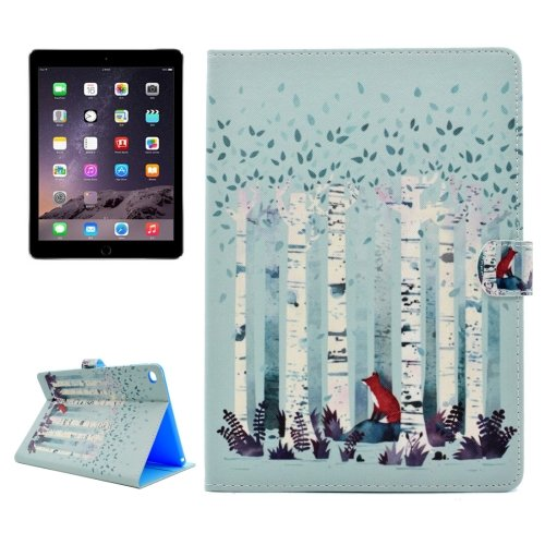 For iPad Air 2/iPad 6 Forest Fox Pattern Flip Leather Case with Holder, Card Slots & Wallet