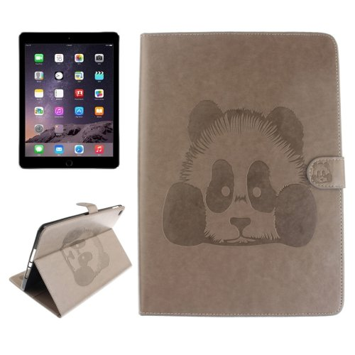 For iPad Air 2/iPad 6 Grey Embossed Panda Leather Case with Holder, Card Slots & Wallet