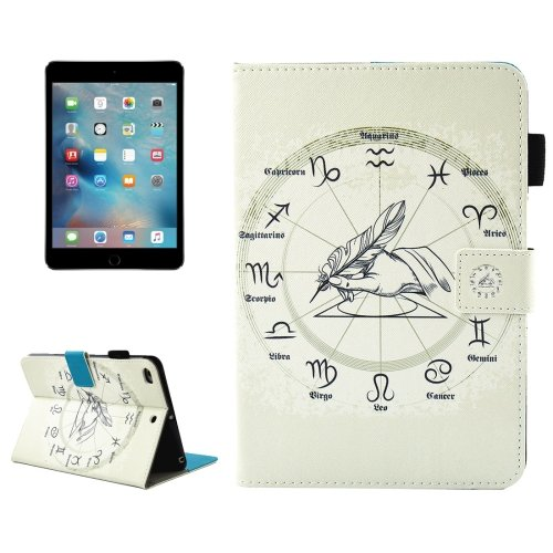 For iPad Mini 4/3/2/1 Zodiac Smart Cover Leather Case with Holder, Card/Pen Slots & Wallet