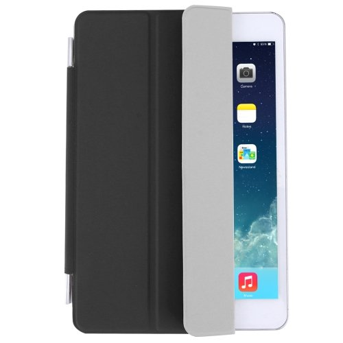 For iPad Mini 4 Black Single Side Polyurethane Smart Cover with 3-Folding Holder
