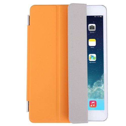 For iPad Mini 4 Orange Single Side Polyurethane Smart Cover with 3-Folding Holder