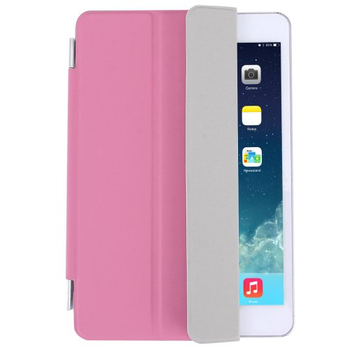 For iPad Mini 4 Pink Single Side Polyurethane Smart Cover with 3-Folding Holder