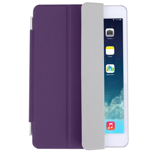 For iPad Mini 4 Purple Single Side Polyurethane Smart Cover with 3-Folding Holder
