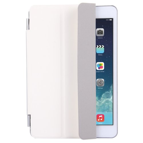 For iPad Mini 4 White Single Side Polyurethane Smart Cover with 3-Folding Holder