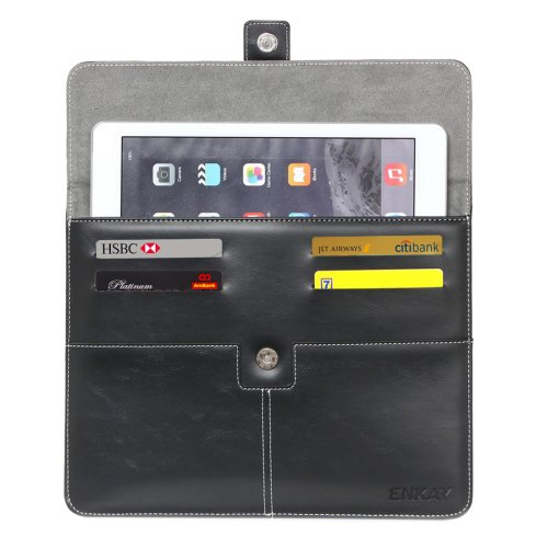 For IPad Mimi ENKAY Casual Commercial Black Leather Case with Card Slots