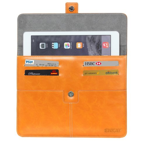 For IPad Mimi ENKAY Casual Commercial Orange Leather Case with Card Slots