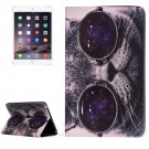 For IPad Mimi 4 Glasses Cat Pattern Horizontal Flip Leather Case with Holder