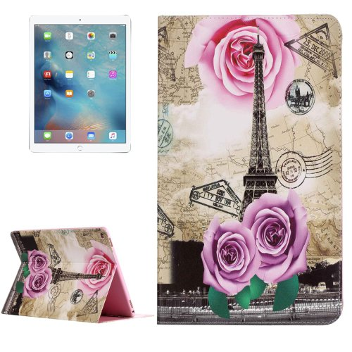 "For iPad Pro 12.9"" Rose Tower Pattern Flip Leather Case with Holder"