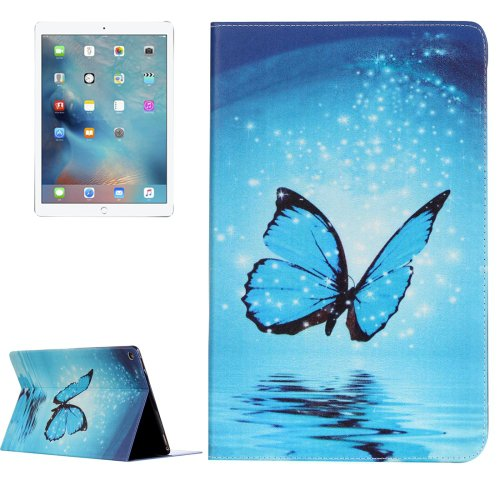 """For iPad Pro 12.9"""" Blue Butterfly Pattern Flip Leather Case with Holder"""