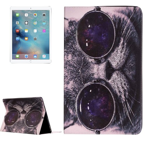 """For iPad Pro 12.9"""" Glasses Cat Pattern Flip Leather Case with Holder"""