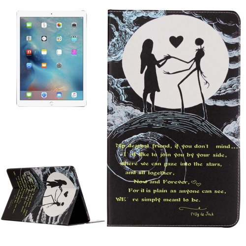 "For iPad Pro 12.9"" Moon Couple Pattern Flip Leather Case with Holder"