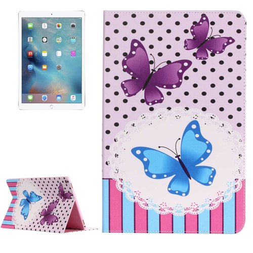 """For iPad Pro 12.9"""" Butterflies Pattern Flip Leather Case with Holder"""