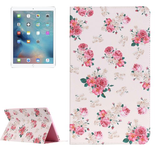"""For iPad Pro 12.9"""" Chinese Rose Pattern Flip Leather Case with Holder"""