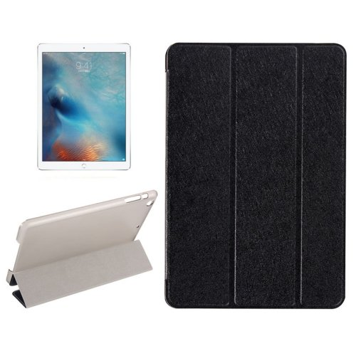 "For iPad Pro 12.9"" Black Silk Texture Smart Cover Leather Case with 3 Folding Holder"
