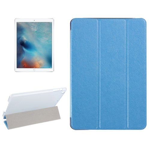 """For iPad Pro 12.9"""" Blue Silk Texture Smart Cover Leather Case with 3 Folding Holder"""