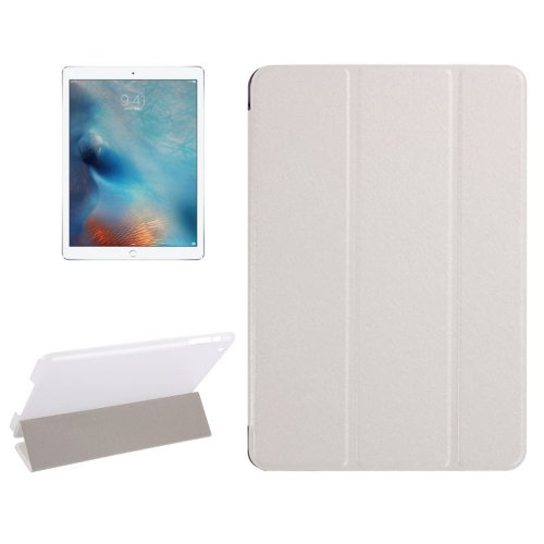 """For iPad Pro 12.9"""" White Silk Texture Smart Cover Leather Case with 3 Folding Holder"""