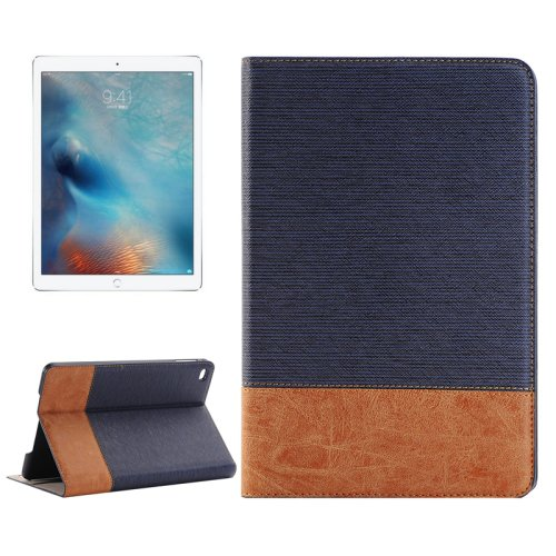 "For iPad Pro 12.9"" Dark Blue Sheepskin Leather Case with Holder, Card Slots & Wallet"