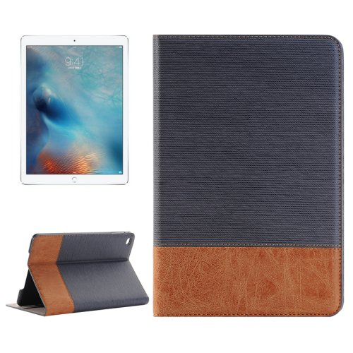 "For iPad Pro 12.9"" Grey Sheepskin Leather Case with Holder, Card Slots & Wallet"