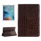 "For iPad Pro 12.9"" Brown Crocodile Leather Case with Holder, Card Slots & Wallet"