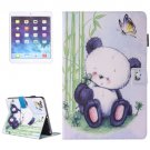 For iPad Air 2/iPad 6 Panda Pattern Leather Case with Holder, Card/Pen Slots & Wallet