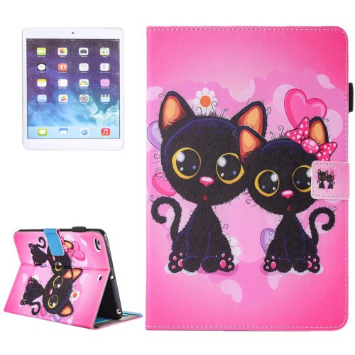For iPad Air 2/iPad 6 Two Cats Pattern Leather Case with Holder, Card/Pen Slots & Wallet