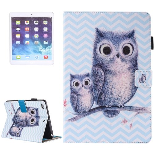 For iPad Air 2/iPad 6 Wave Owl Pattern Leather Case with Holder, Card/Pen Slots & Wallet