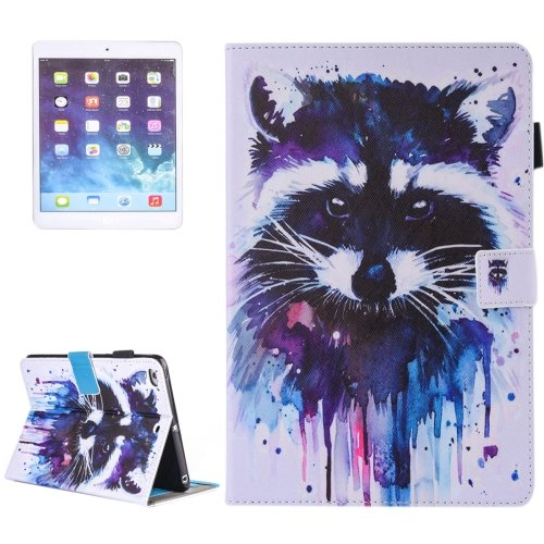 For iPad Air 2/iPad 6 Raccoon Pattern Leather Case with Holder, Card/Pen Slots & Wallet