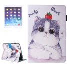 For iPad Air 2/iPad 6 Cat Pattern Leather Case with Holder, Card/Pen Slots & Wallet