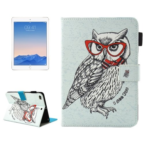 For iPad Air 2/iPad 6 Glasses Owl Smart Cover Case with Holder, Card/Pen Slots & WalletS